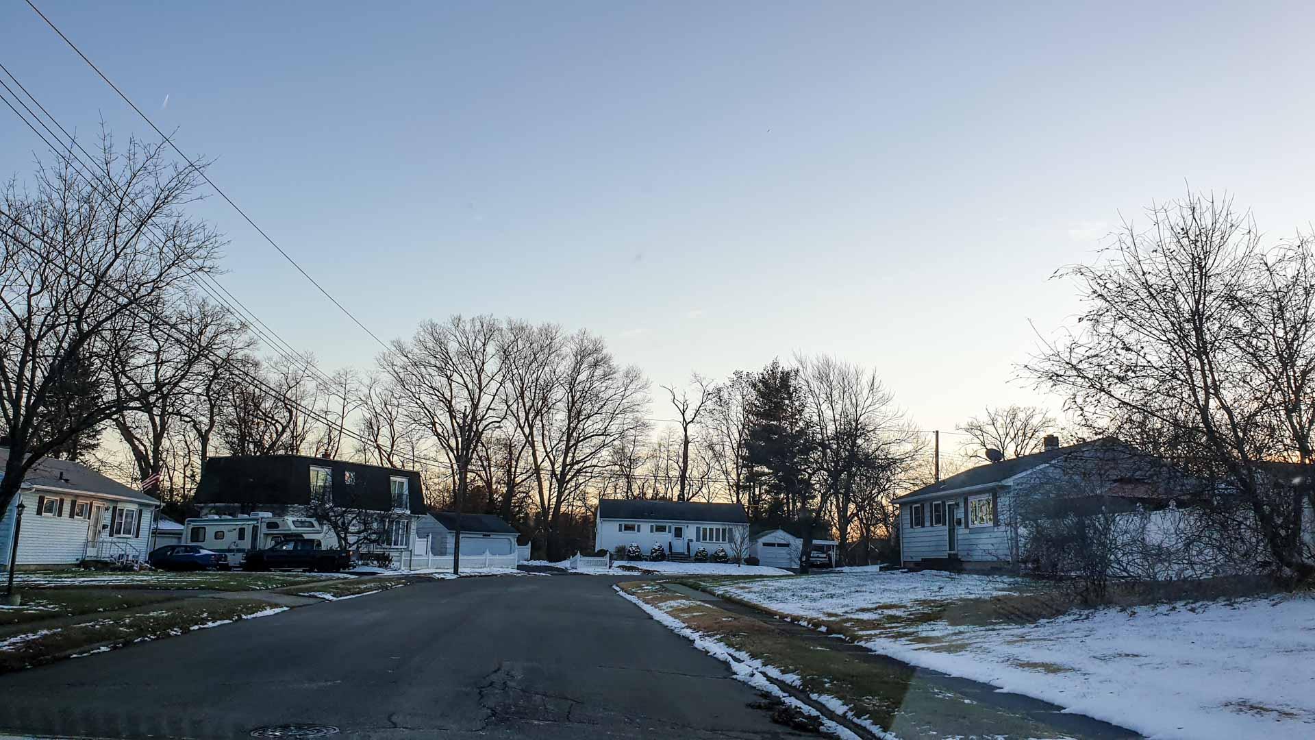 Primeira nevada en Milford, Connecticut
