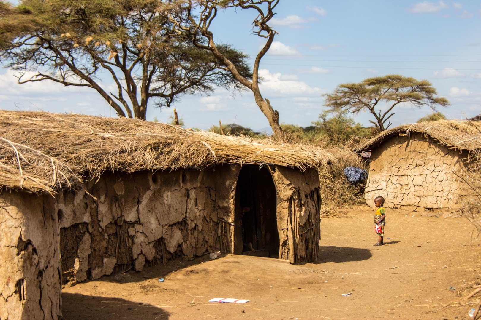 Poblado Masai en Amboseli, Kenia