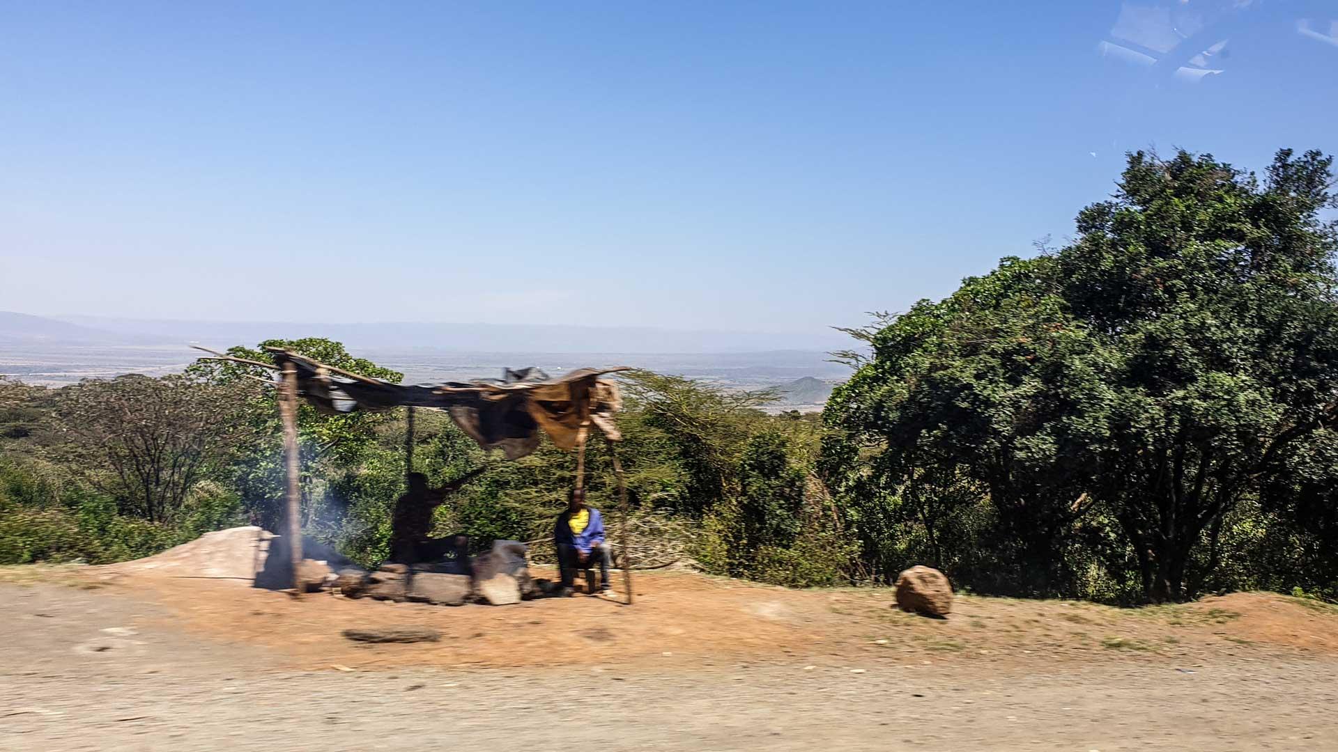Puestos de venta en el Valle de Rift, Kenia