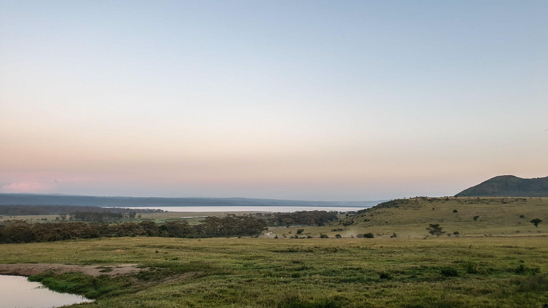 Vistas de Lago Nakuru desde nuestro alojamiento, Lake Nakuru Lodge