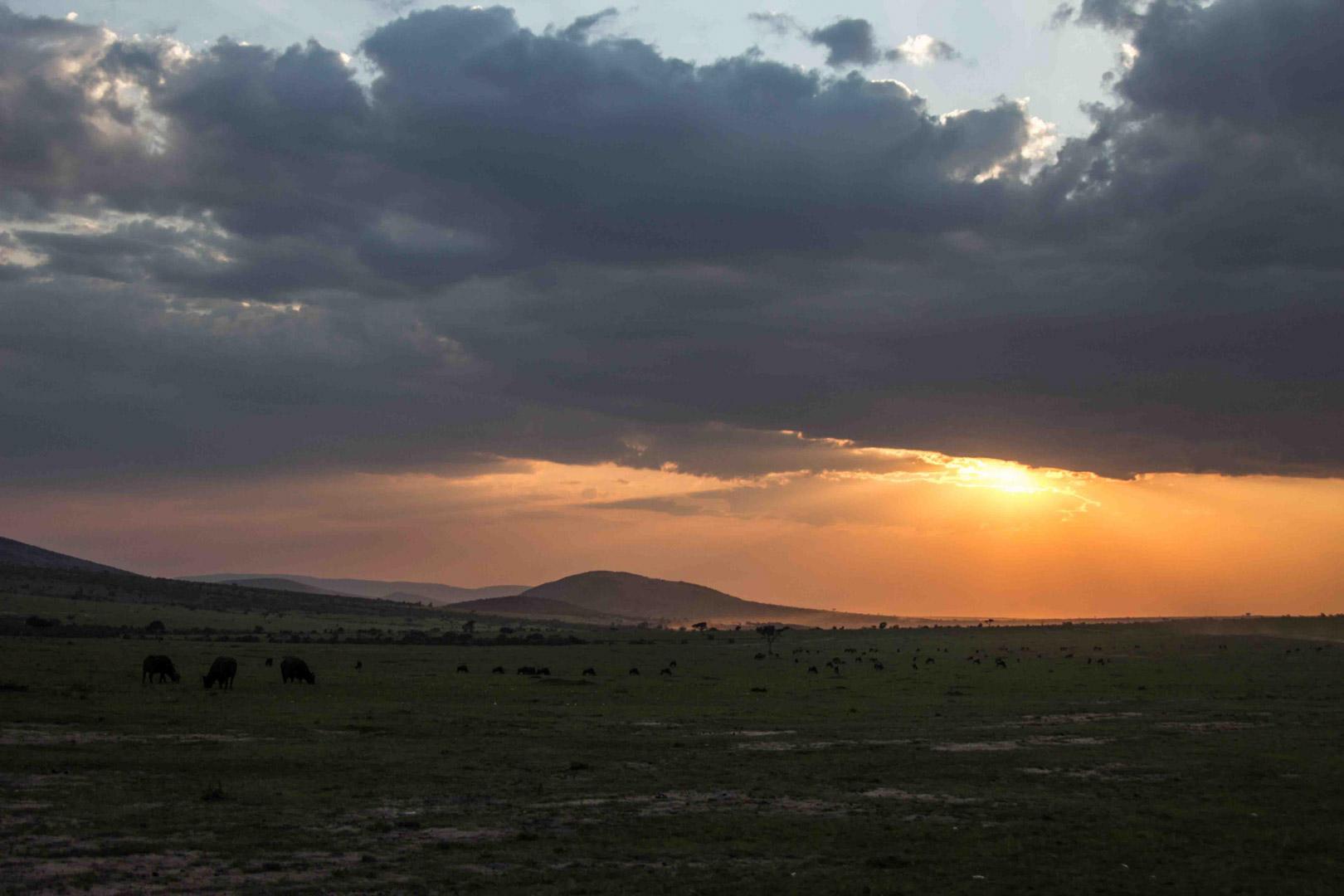 Atardecer en Masai Mara, Kenia