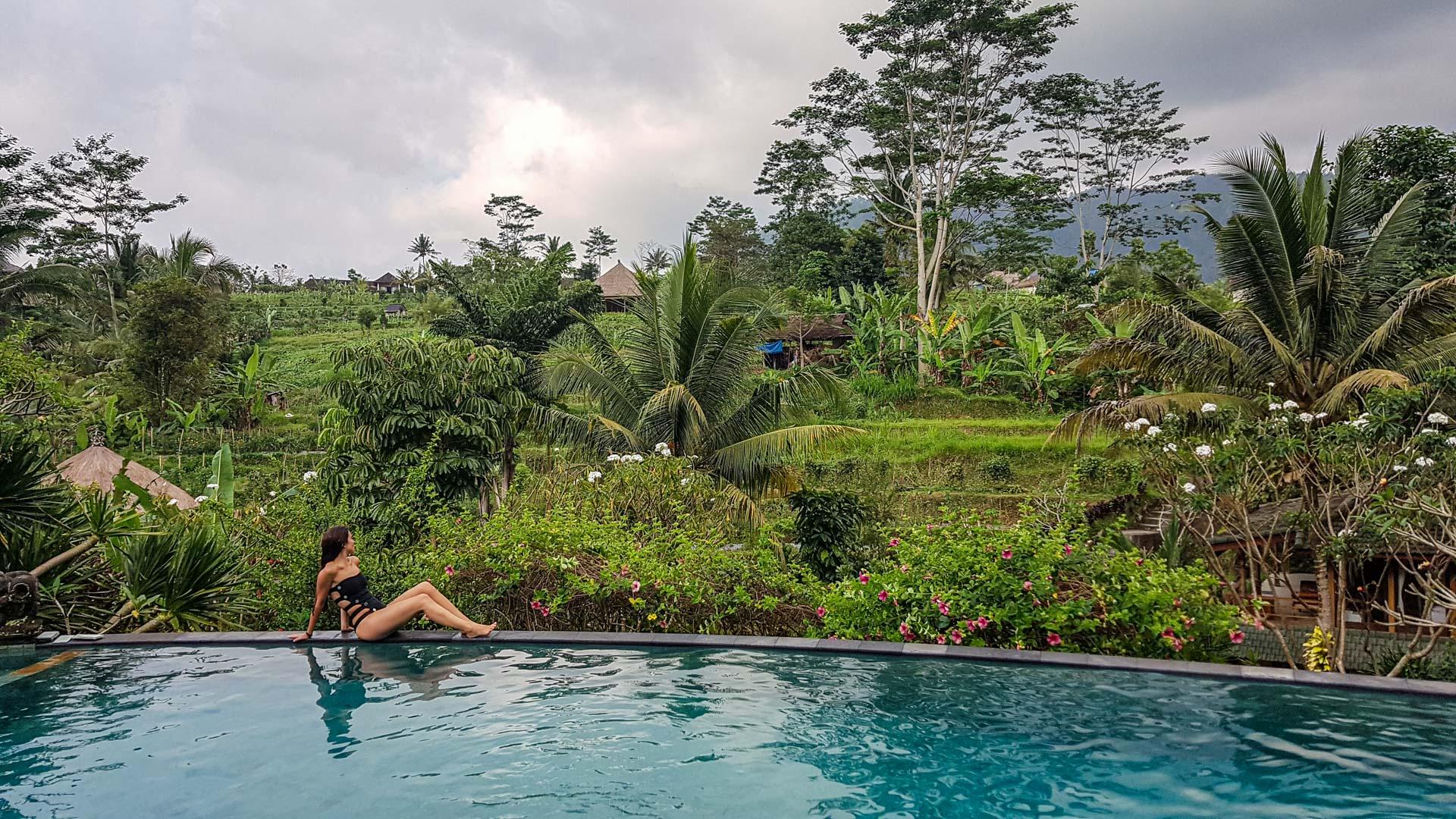 Piscina infinita en Abian Ayu Villa, Sidemen, Bali