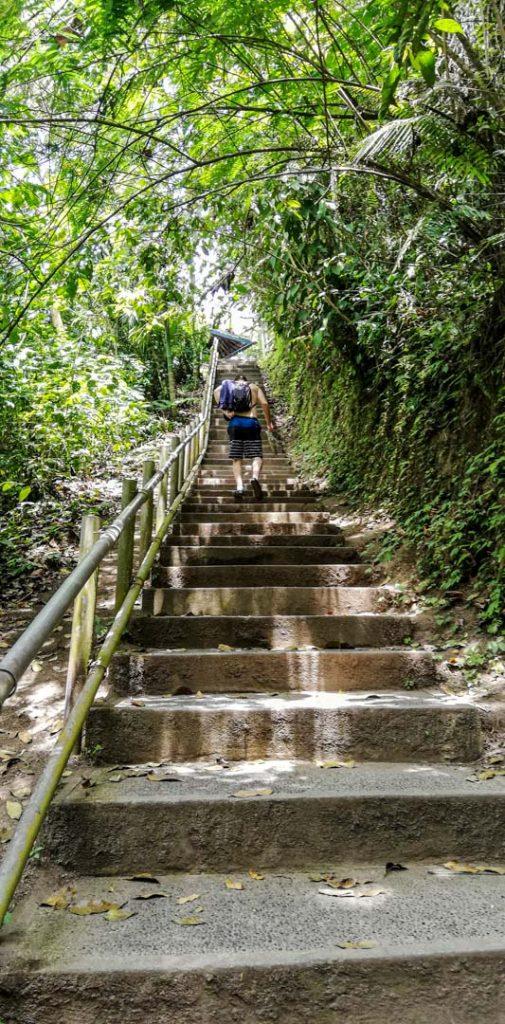 Escalera para llegar a la cascada Nungnung, Bali, Indonesia