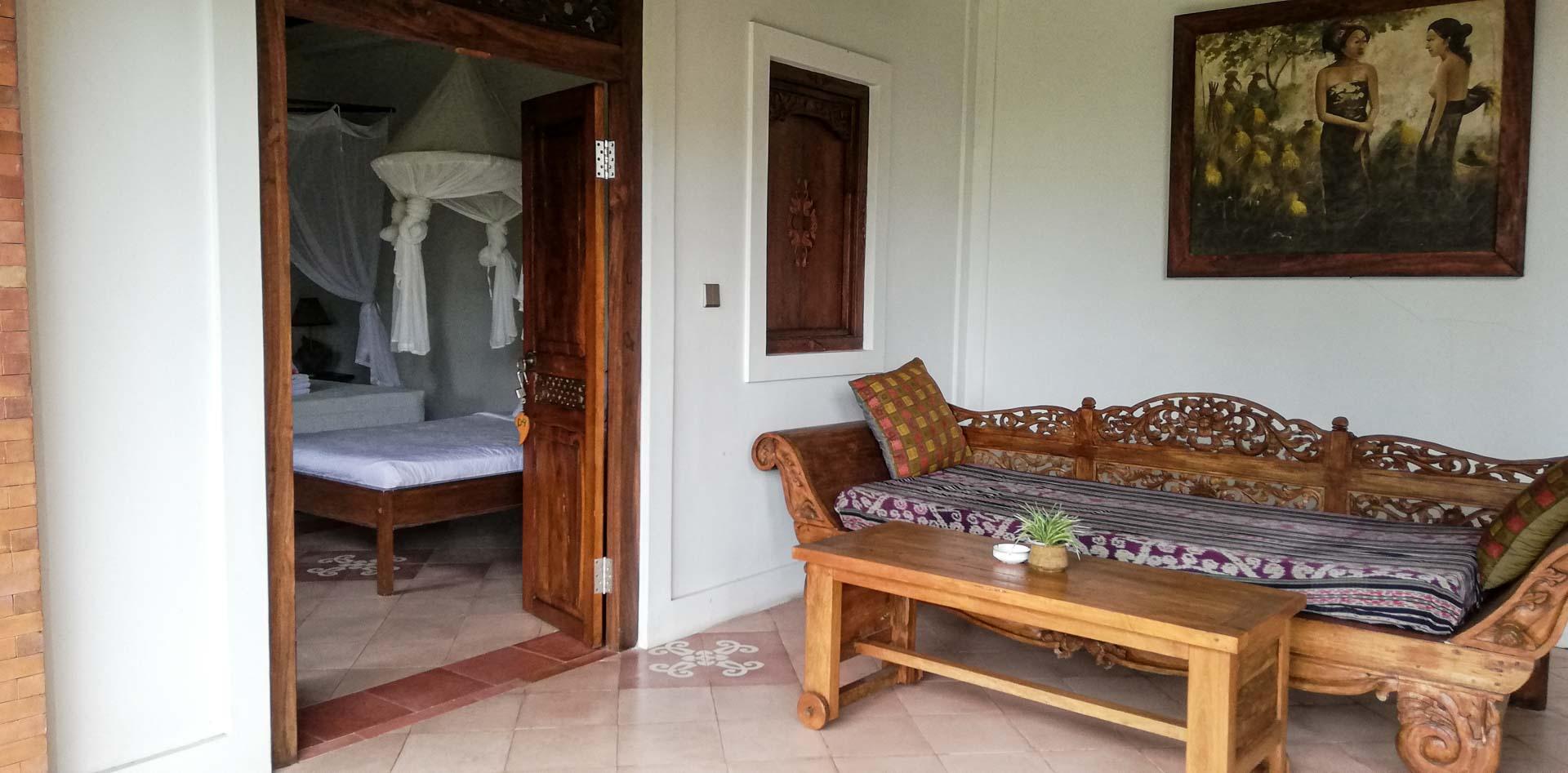 Terraza de nuestra villa en Abian Ayu Villa, Sidemen, Bali