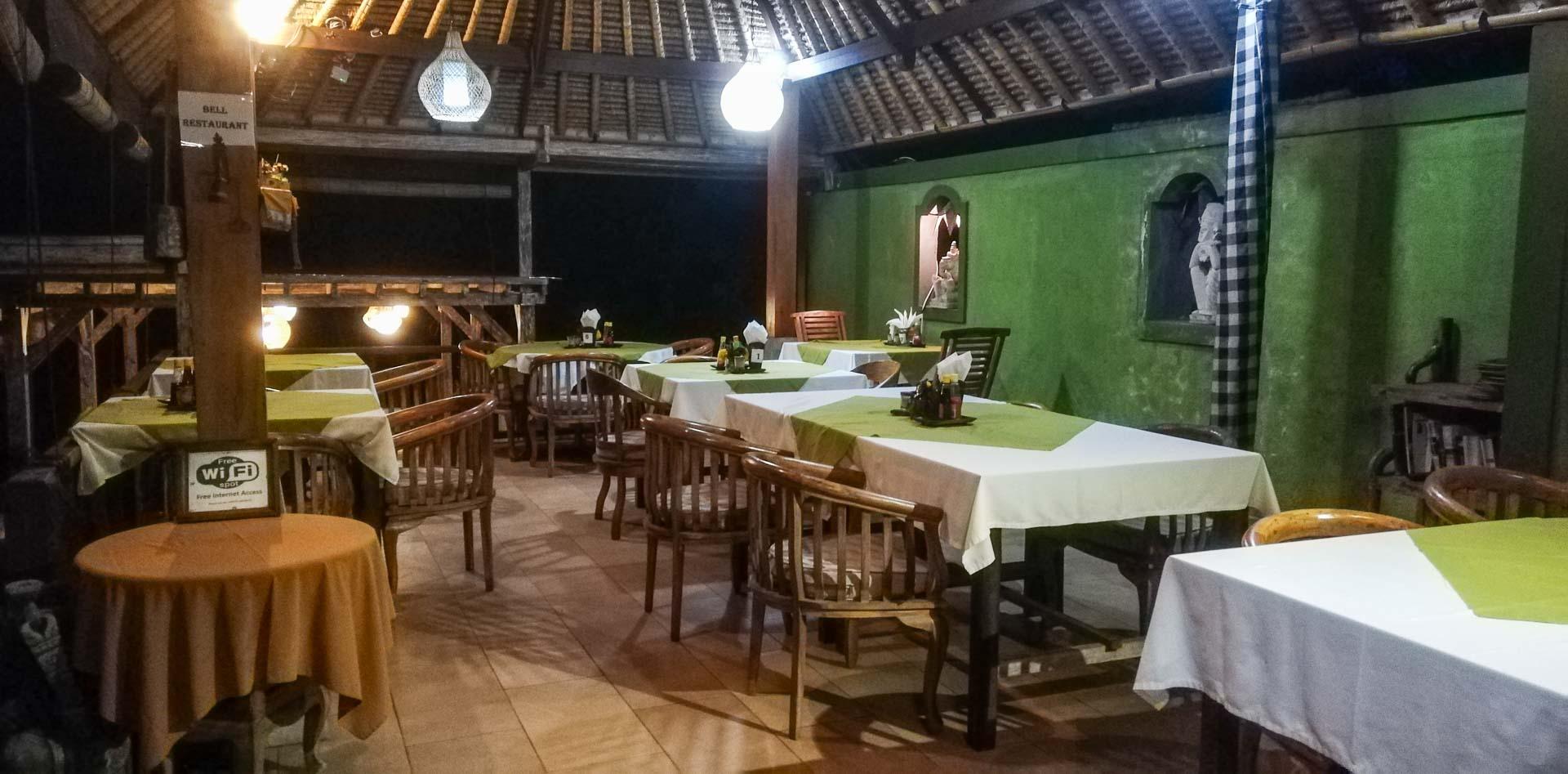 Restaurante del alojamiento Abian Ayu Villa, Sidemen, Bali