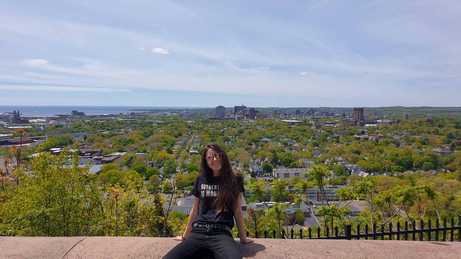 Vistas del downtown de New Haven desde la cima de East Rock, Connecticut