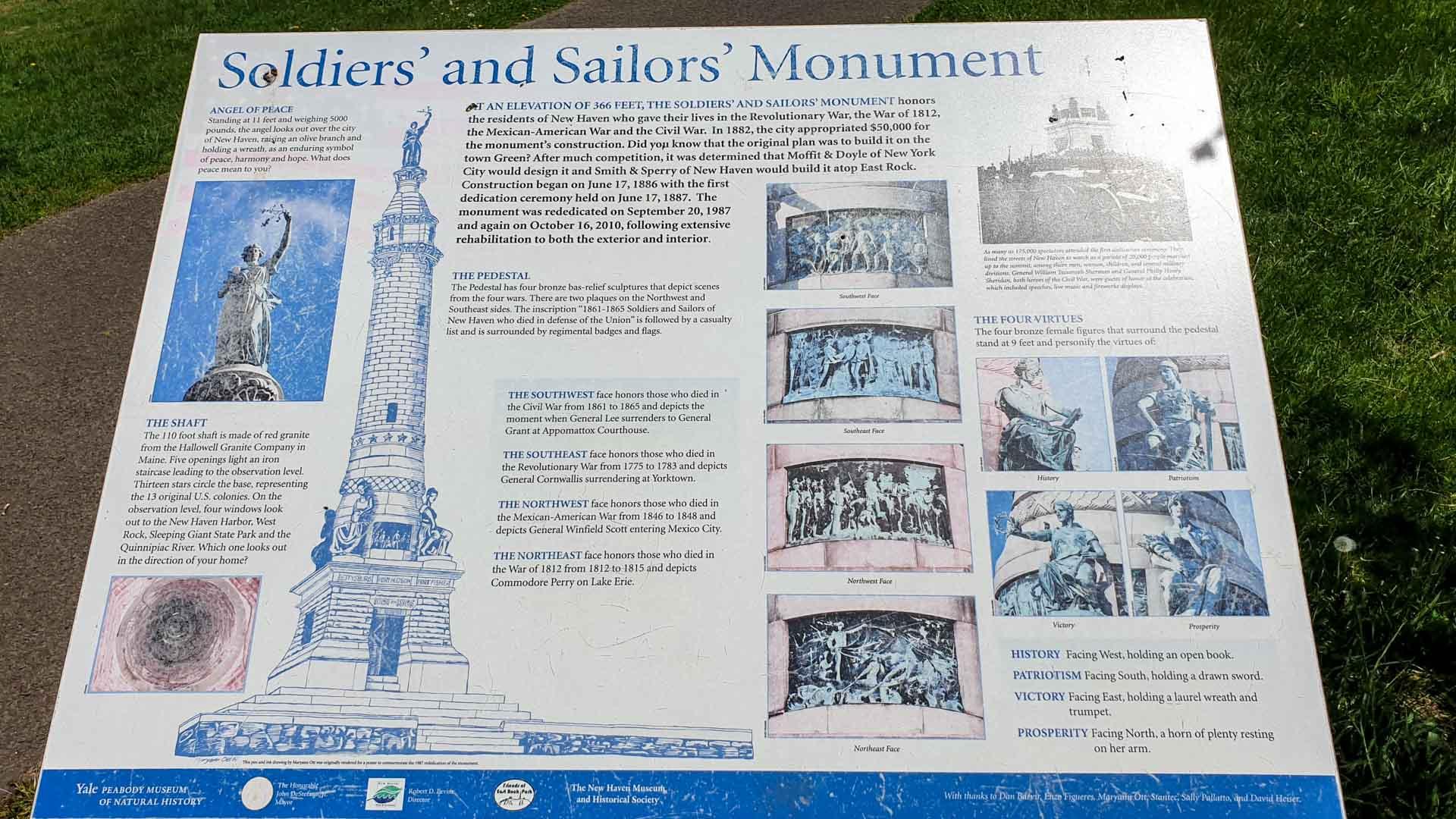 Cartel explicativo sobre el Soldiers' and Sailors' Monument, East Rock Park, New Haven, Connecticut
