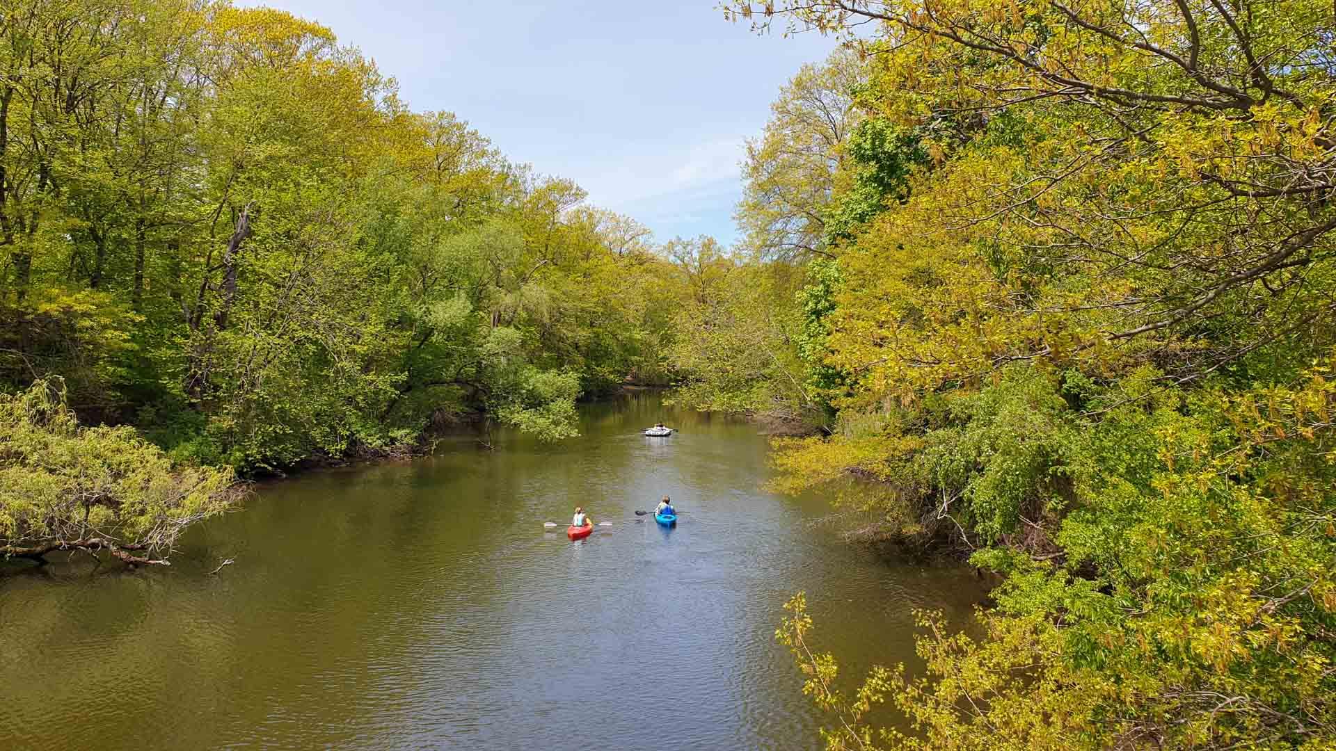 Canoas en Río Mill, East Rock Park, New Haven, Connecticut