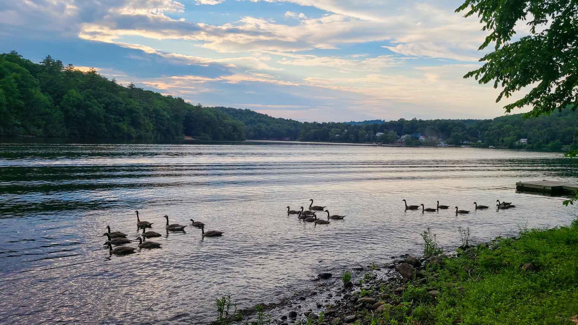 Atardecer en el Río Hudson, Lake Luzerne, Nueva York