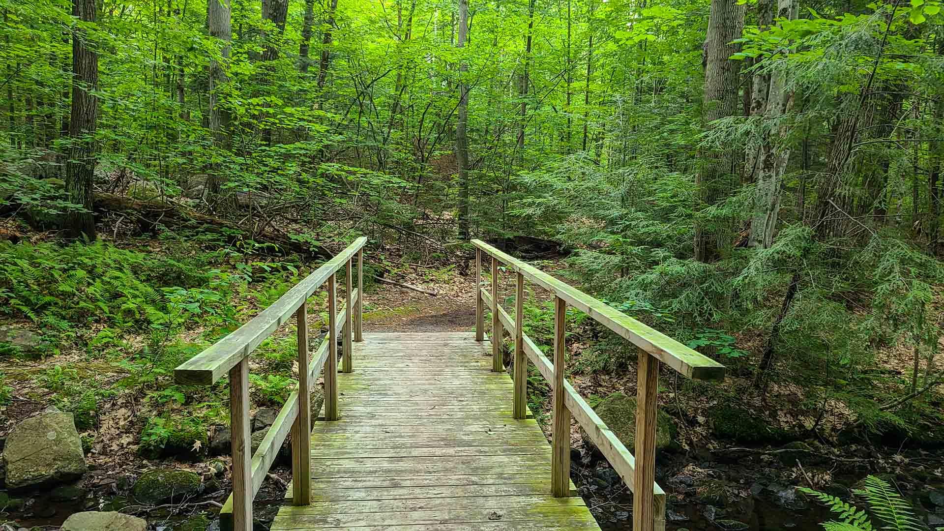 Puente en Corinth Reservoir Recreation Area, Adirondack, Nueva York