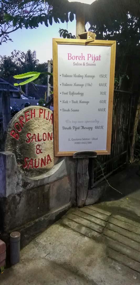 Boreh Pijat, masaje balinés en Ubud, Bali